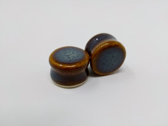 EARRINGS Gauged Flared - 19.5mm 3/4in Iron Lustre - Handmade Ceramic #390