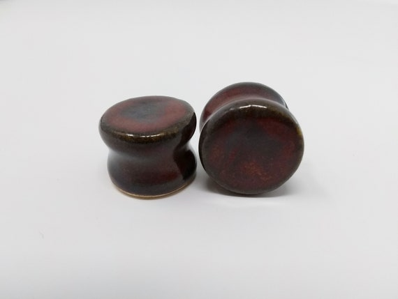 EARRINGS Gauged Flared - 18mm Ancient Jasper - Handmade Ceramic #492