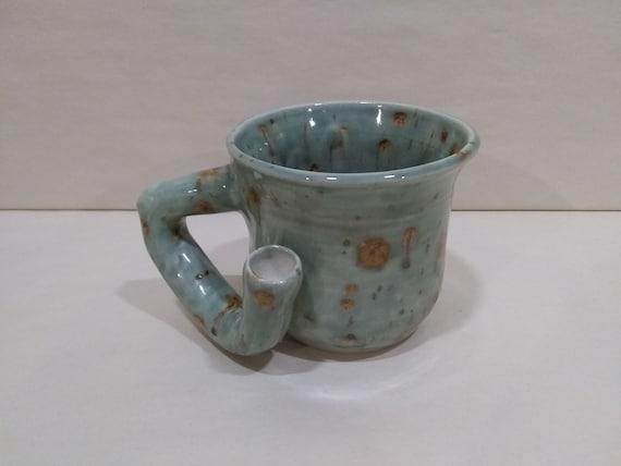 WAKE and BAKE Pipe MUG - Lotus Blossom Cone 5 - Handmade Ceramic #979