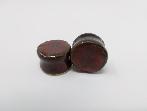 "EARRINGS Gauged Flared - 19mm 3/4"" Ancient Jasper - Handmade Ceramic #489"