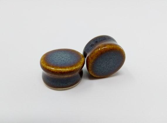 EARRINGS Gauged Flared - 20.5mm Iron Lustre - Handmade Ceramic #395