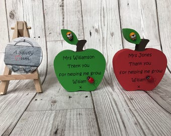 Personalised freestanding apple teacher present, end of term teacher gift, teacher gift, personalised gift, childminder gift, nursery gift