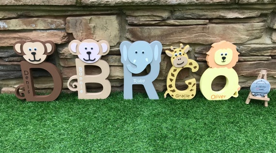 WILD KINGDOM Monkey Theme Jungle Sign Room Decor Kids U-Pick Color Wood Plaque