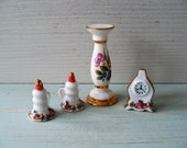 Vintage Miniature Doll 39 s House Ceramic Plant Pot Stand, Candle Snuffers and Mantle Clock