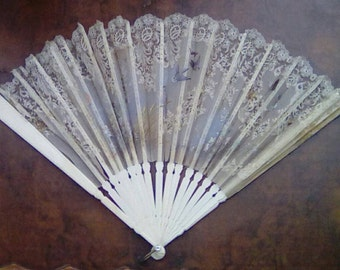Large Vintage French Lace Fan with Hand Painted Birds and Butterflies Circa late 19th Century Ivorine Folding Fan