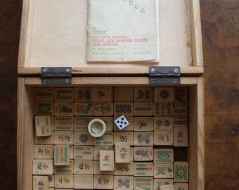 Vintage Mahjongg Game Part Set By Jackpot 1936 Edition Boxed Mah-Jongg