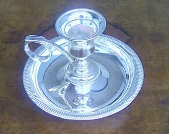 Vintage Candlestick Holder Silver Plate Chamberstick