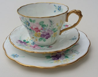 Vintage Porcelain Teacup Saucer and Plate Trio Hand Painted Floral Design