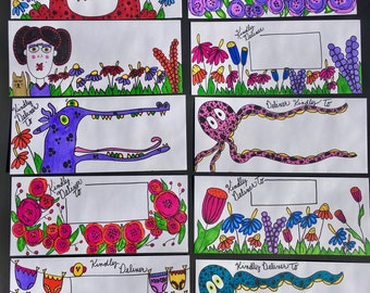 Stationery / Handmade /Original Artwork/ Decorated Envelopes/ Fun Mail/ penpal/ letter / card
