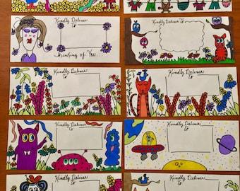 10 Handmade Envelopes/ Mail Art/ Stationery / Fun Mail/ Handmade/penpal/letter/card