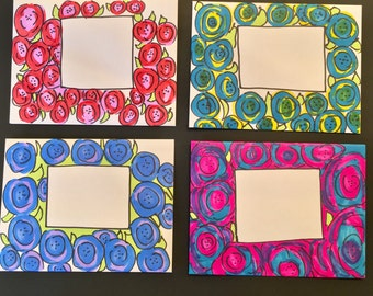 4 Blank Notecards/ Decorated Envelopes/Mail Art/ Stationery / Fun Mail/ handmade/ penpal/ Letter / card