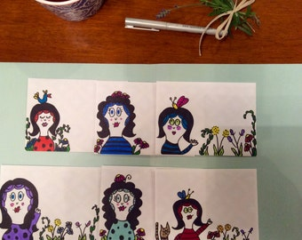 Set of Six Note Cards/ HAND Drawn envelopes