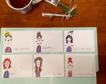 6 Blank Notecards/Mail Art/Decorated Envelopes/Mail Art/ Stationery / Fun Mail/ card/ letter/ handmade/ original art