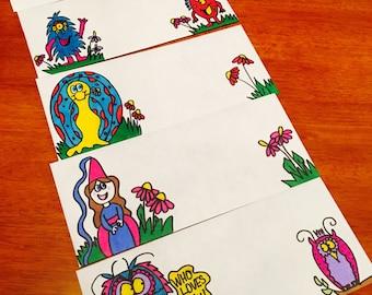 5 Decorated Envelopes/ Handmade