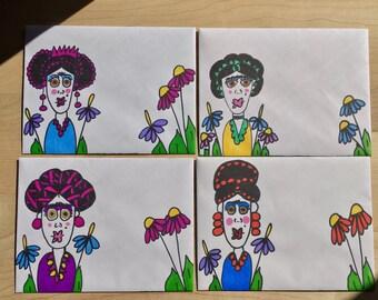 4 Blank Notecards/  Decorated Envelopes /Frida Kahlo/Stationery /Fun Mail/ card/ letter/ penpal