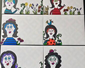 6 Blank Notecards/ Mail Art/ Stationery / Fun Mail/ Handmade/ letter / card/ handmade/ original art