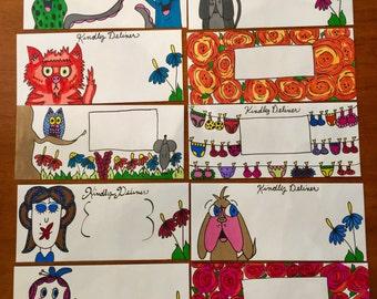10 Handmade Envelopes/ Mail Art/Stationery/Fun Mail/ Handmade/ Fun Mail/letter/card