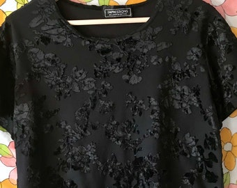 Cozy Velvet Burnout Top Blouse | Black | Shirt Size Small Medium