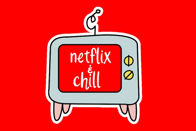 Digital Netflix And Chill Planner Stickers Hand Drawn Tv image 0