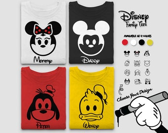Custom Disney Family Shirts 2018 Choose Your Own Character, Personalize Your Own Name, Choose From Mickey,Minnie, Goofy,Donald, Frozen +More