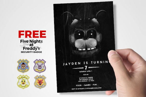 Five Nights At Freddys Invitations Party Birthday