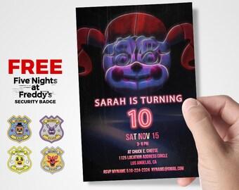 Five Nights At Freddy's  Birthday Invitation, Five Nights At Freddys Sister Location, five nights at freddys party supplies, Neon, FNAF