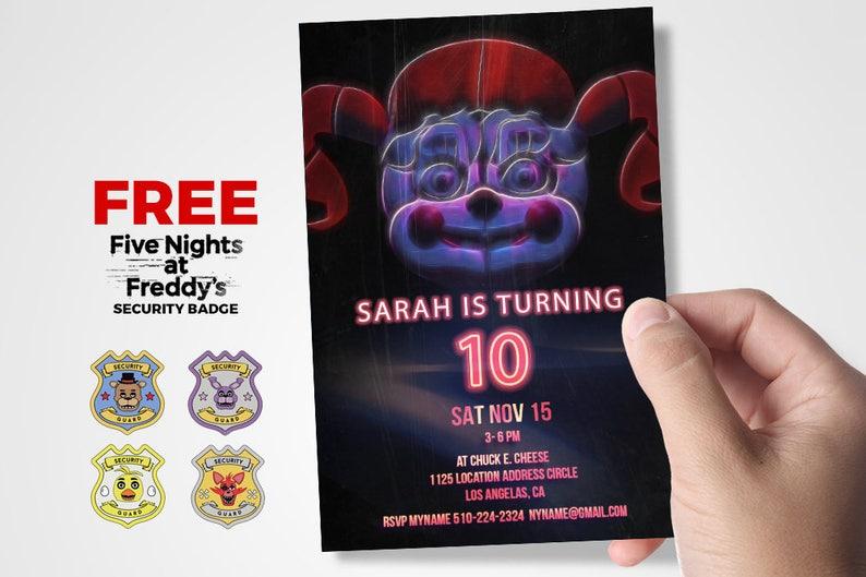 Five Nights At Freddys Birthday Invitation Sister