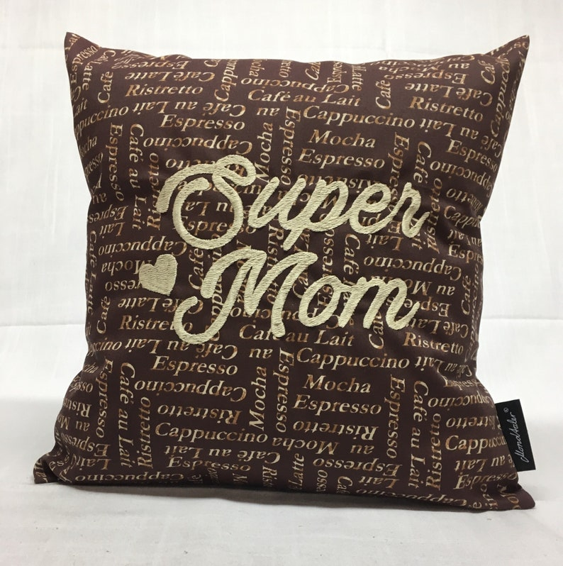 c485a19050a45 Pillow Super Mom//gift idea//handmade//with embroidery//incl. filling  pillows//35 x 35 cm