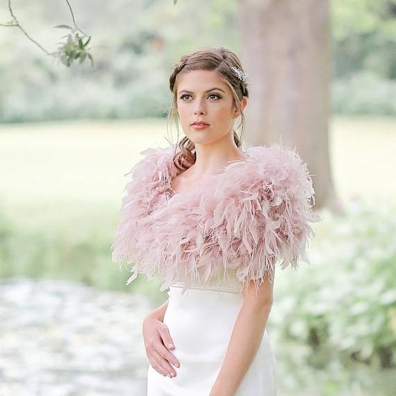 15705ecd68d9b Feather bolero blush pink/ostrich feather wrap/bridal | Etsy