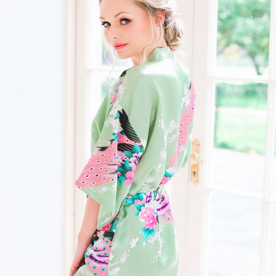 Brautjungfer Kimono Bademantel/Pfau Kimono/Satin Gewand/Bridal | Etsy