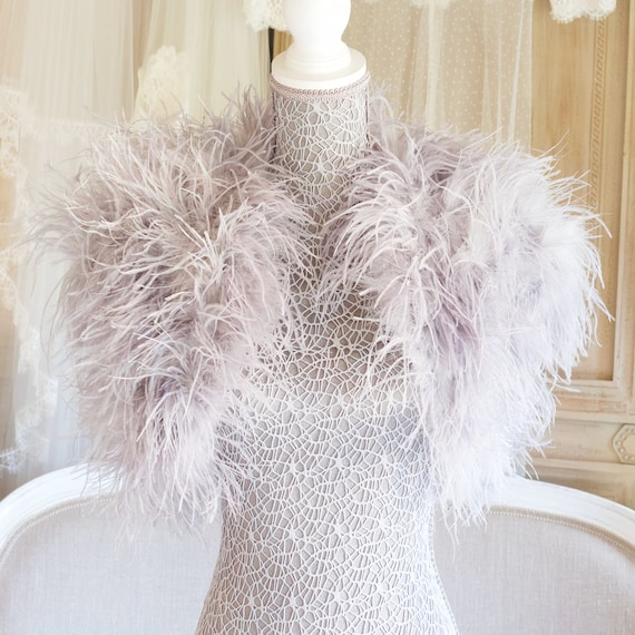 5b0e96d9c42 Luxury silver ostrich feather bolero/ feather shrug/special | Etsy