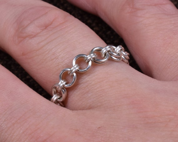 Single Hana Gusari Argentium Chainmail Ring