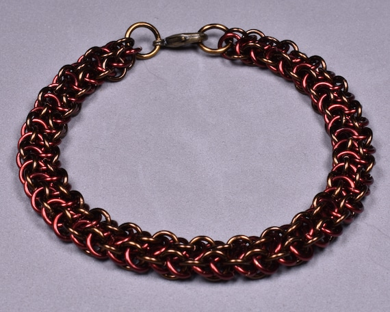 Copper Chainmail Bracelet - Rose and Brown