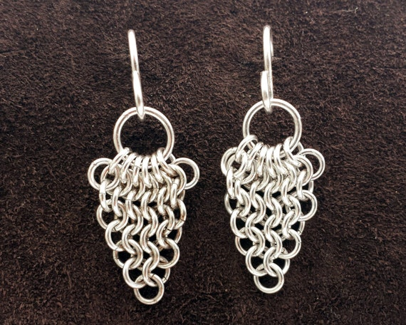 European Leaf Chainmail Earrings
