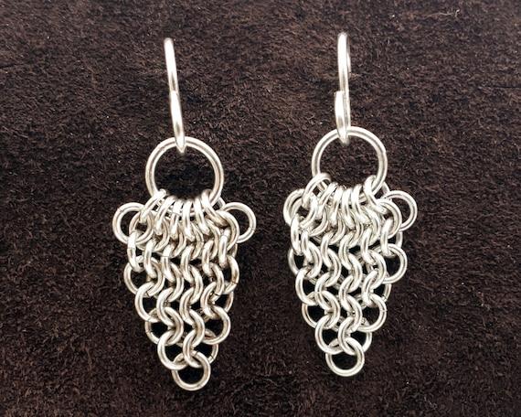 European Leaf Chainmail Earrings