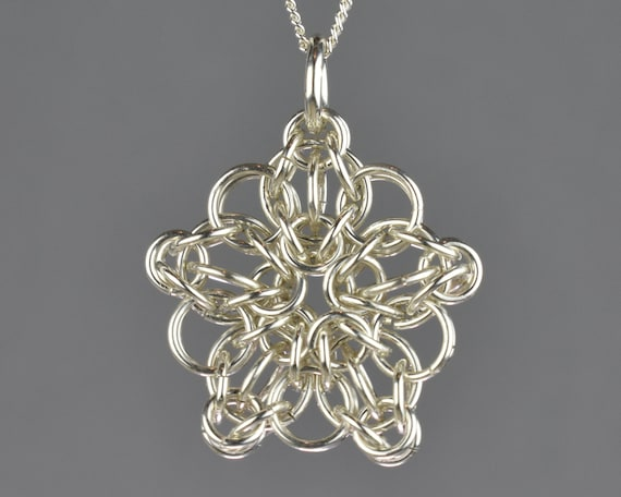 SALE  Celtic Star Chainmail Pendant - Small
