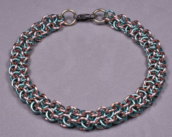 Copper Chainmail Bracelet - Rose and Baby Blue