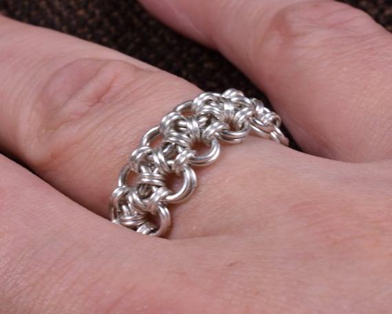 Double Hana Gusari Argentium Chainmail Ring