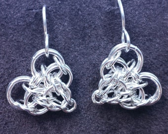 Persian Heart Chainmail Earrings - Sterling Silver