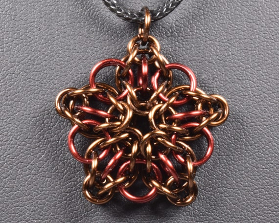 Celtic Star Chainmail Pendant - Brown & Burgundy