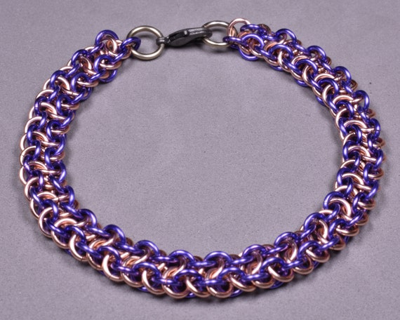 Copper Chainmail Bracelet - Lavender and Rose