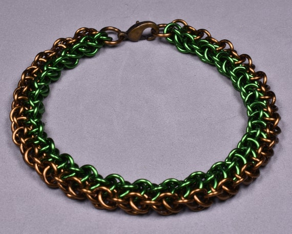 Copper Chainmail Bracelet - Green and Antique Bronze