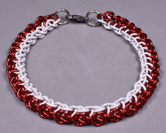 Copper Chainmail Bracelet - Red and White