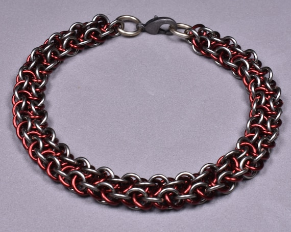 Copper Chainmail Bracelet - Grey and Burgundy