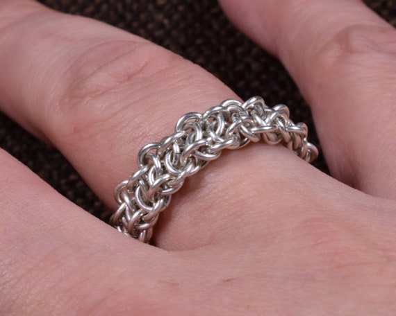 Vipera Berus Argentium Chainmail Ring - Thicker Version