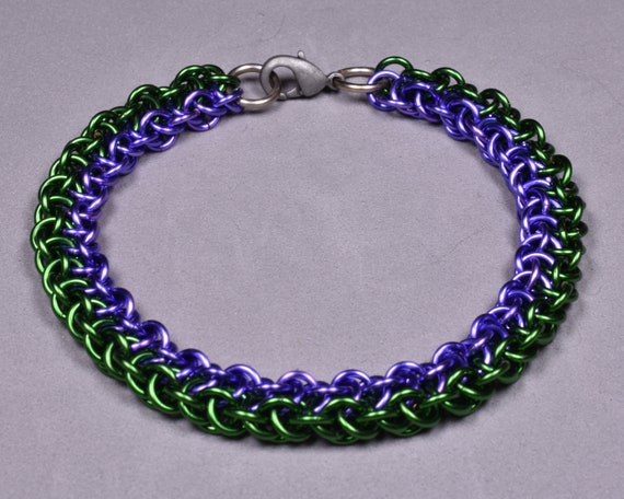 Copper Chainmail Bracelet - Lavender and Green