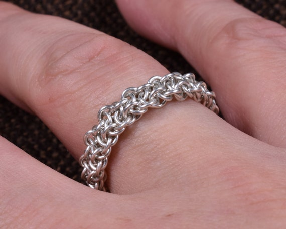 Vipera Berus Argentium Chainmail Ring - Slim Version