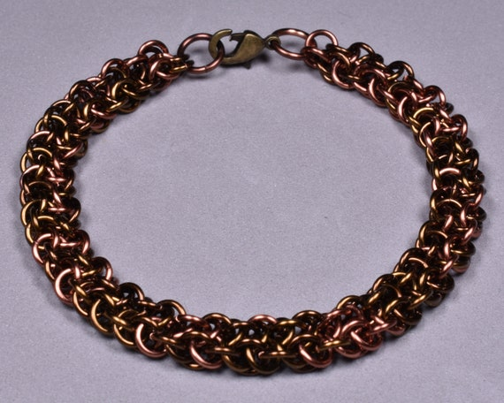 Copper Chainmail Bracelet - Tabby (mixed browns)