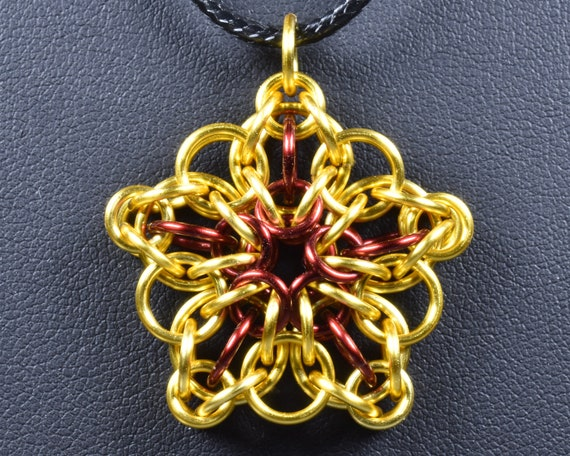Celtic Star Chainmail Pendant - Yellow & Burgundy