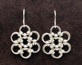 Hana Gusari Snowflake Chainmail Earrings - Sterling Silver